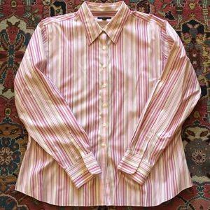 Lands End pink stripe blouse